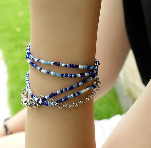 Color crystal long string bracelet (ocean blue)