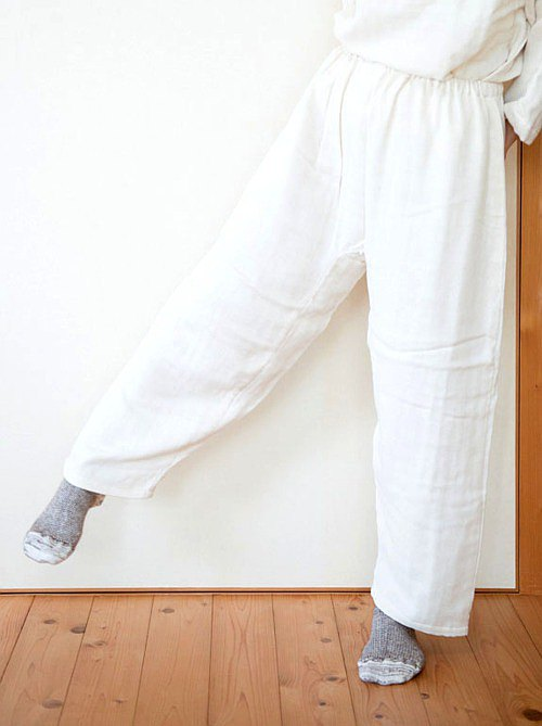 Organic Cotton triple gauze loose pants [natural color]