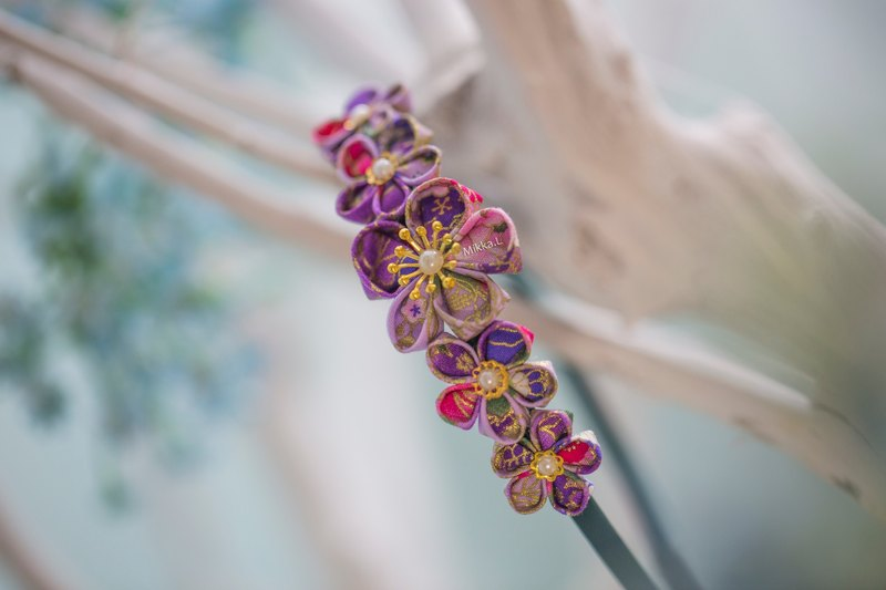 Like purple, you have a purple red Japanese handmade flower head flower headband