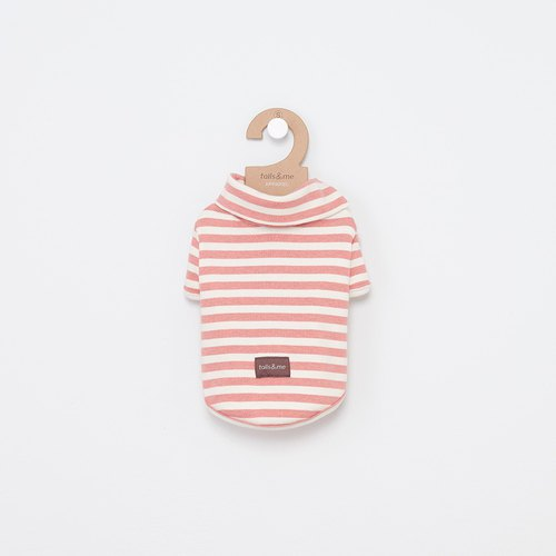 [tail and me] pet clothing lapel short-sleeved striped shirt powder