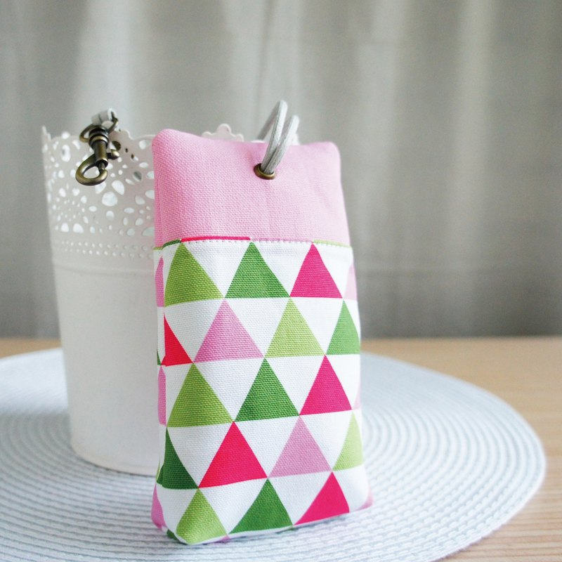 Lovely [Korean cloth] pink triangle palm house zipper key case, ID card, long key