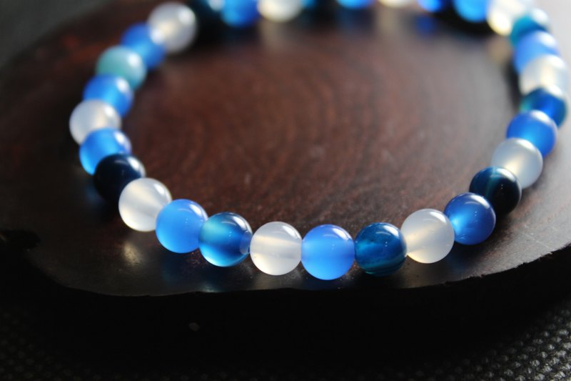 Blue Striped Agate Blue Chalcedony White Agate Bracelet