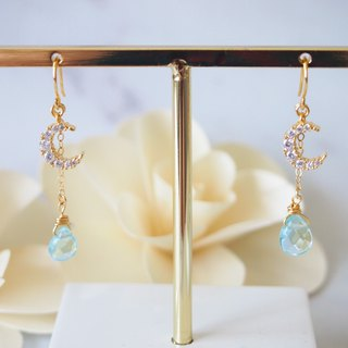Anniewhere | Night Sea | Moon Blue Drop Earrings Ear Clips (without pierced ears)
