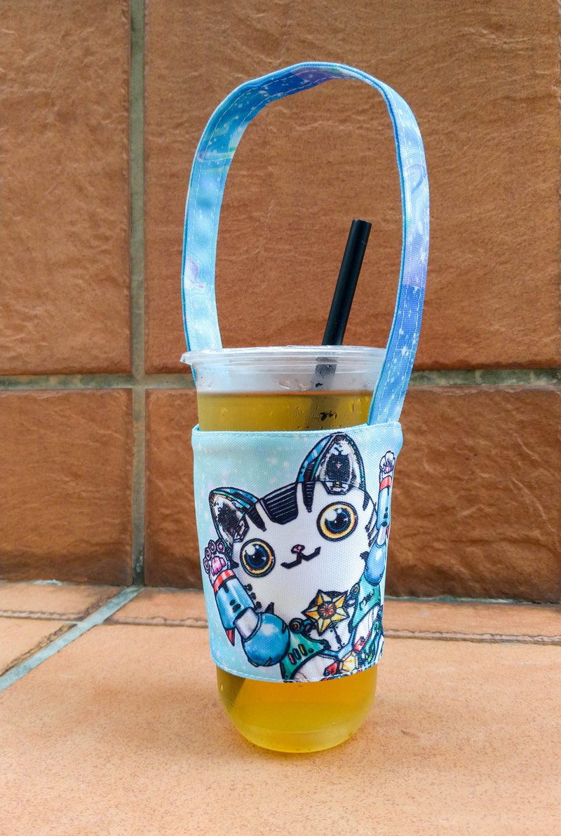 A good helper for the summer heat ~ Environment-friendly drink cup holders available on both sides-Robot Cat