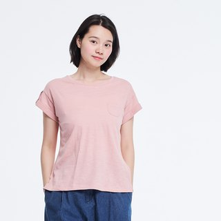 Slub yarn fabric cuff sleeve button shirt /Pink