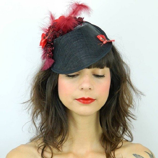 Pillbox Dipped Hat Fascinator Headpiece with Raspberries and Red Butterflies