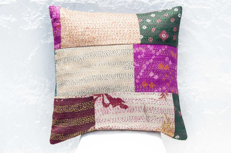 Hand-embroidered pillowcase silk hug pillowcase national wind hug pillowcase-French wind patchwork flower forest