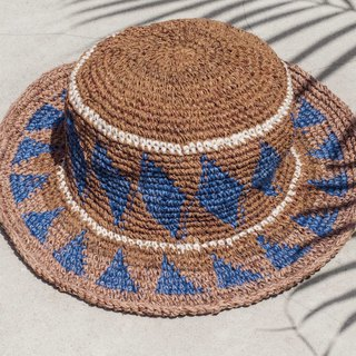 Hand crochet cotton hat fisherman hat visor straw hat knit hat - South American style coffee sun ray