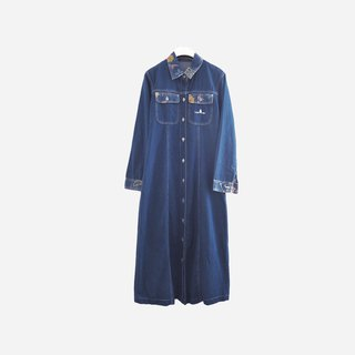 Dislocation vintage / flower denim buttoned dress no.911 vintage