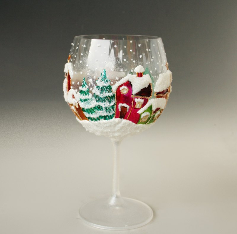Winter City Christmas Table Decor, Wine Glass, Tealight Candle Holder, Painted