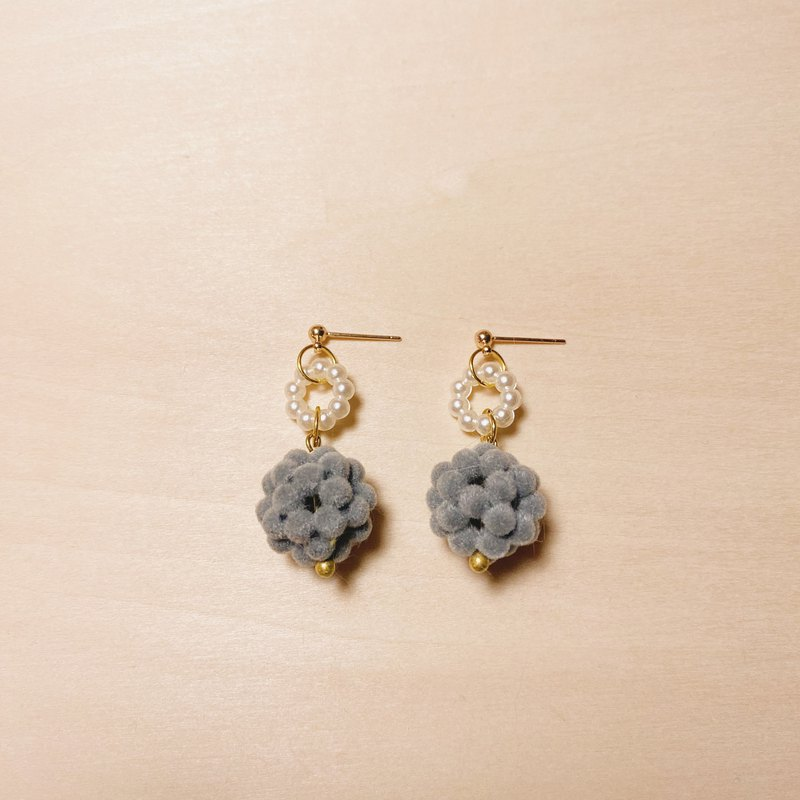 Vintage Pearl Bottom Grey Plush Ball Earrings