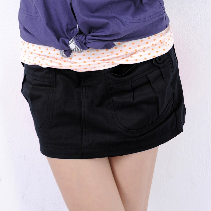 Petite denim mini skirt with side pockets in black
