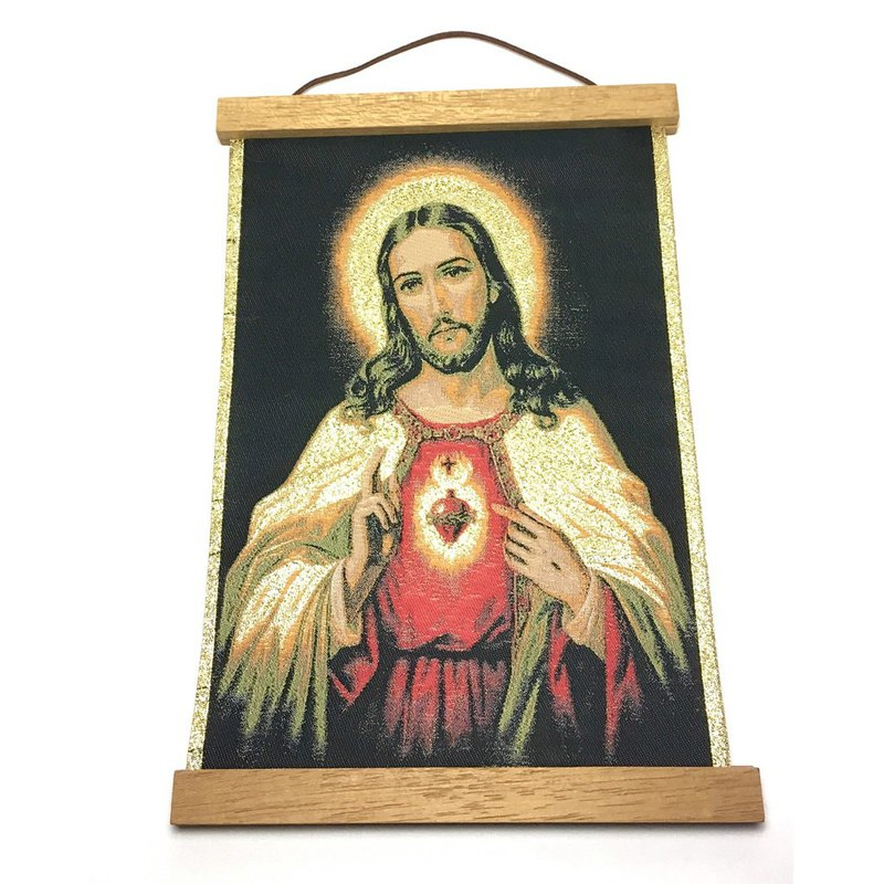 Turkish traditional handmade scroll unique and exquisite statue of Jesus hanging picture wall hanging with hanging shaft 81702-1