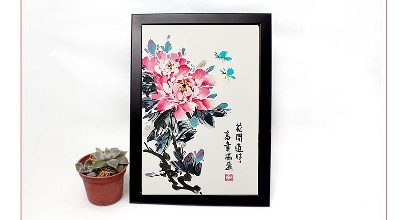 Accompanied-hand-painted paintings and flowers blooming facts and riches-home furnishings (with frame)