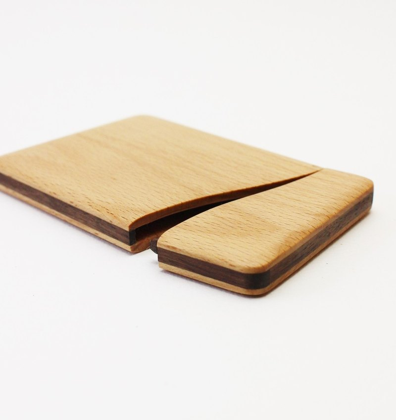 Slim name-card holder Beech and Walnut