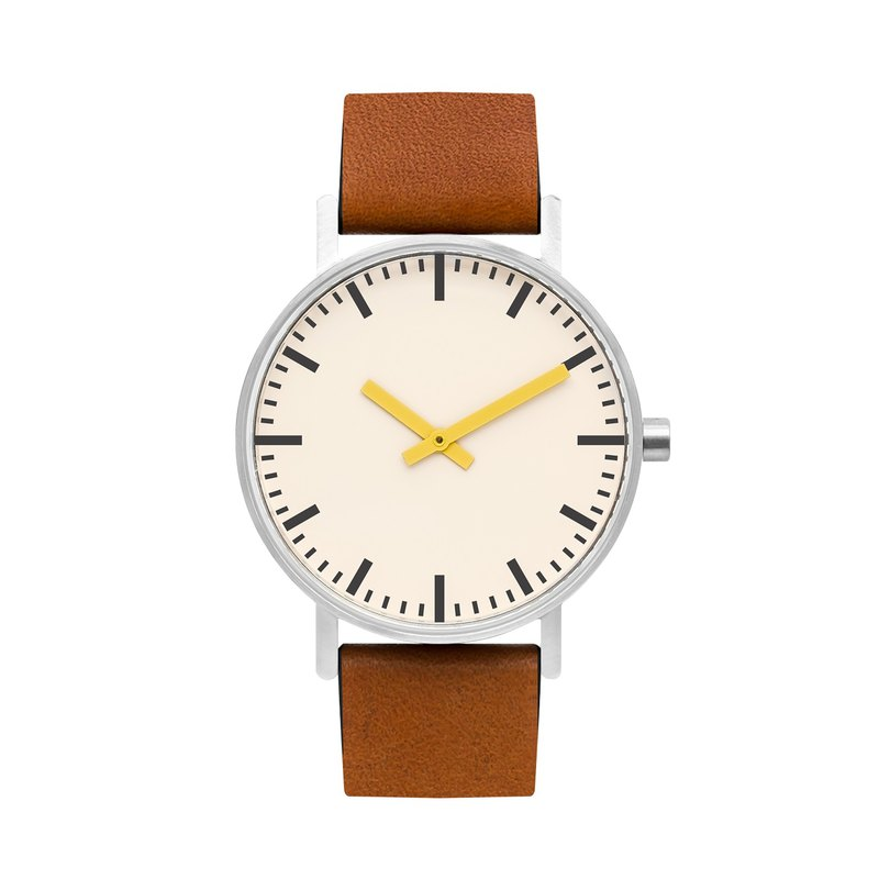 BIJOUONE B50 series watch yellow pointer yellow brown leather strap simple waterproof personality design men and women