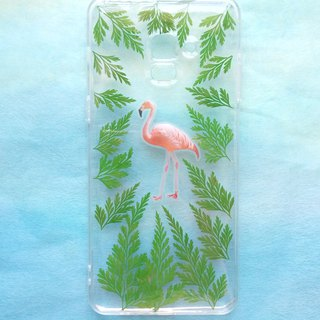 Annys workshop手作押花手機保護殼, Samsung Galaxy A8 plus, 適用, Flamingos