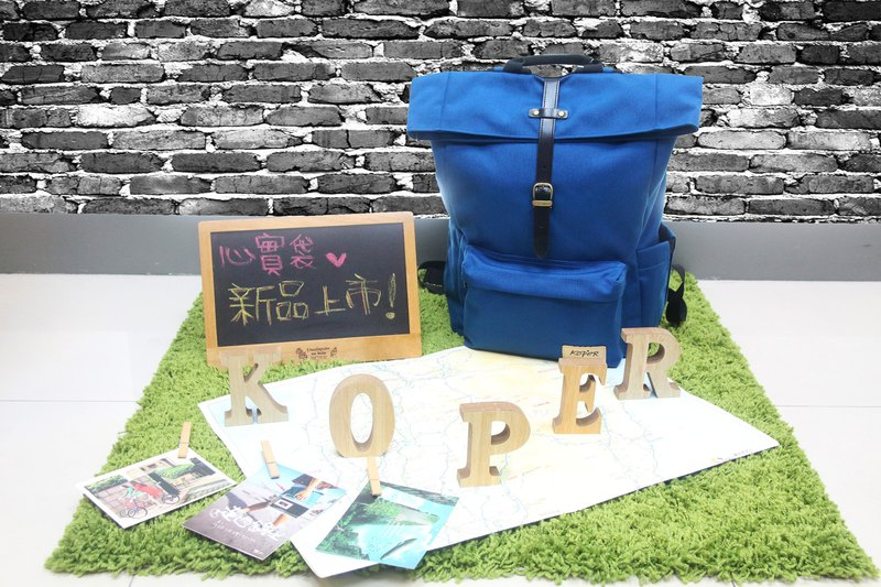 [Heart Bag] Single Button Casual Backpack - Ocean Blue