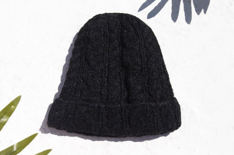 Christmas market Christmas gift limited one hand-woven pure wool hat / knitted hat / knitted wool hat / inner bristles hand knitted wool hat / woolen hat-twist stripe fashion black