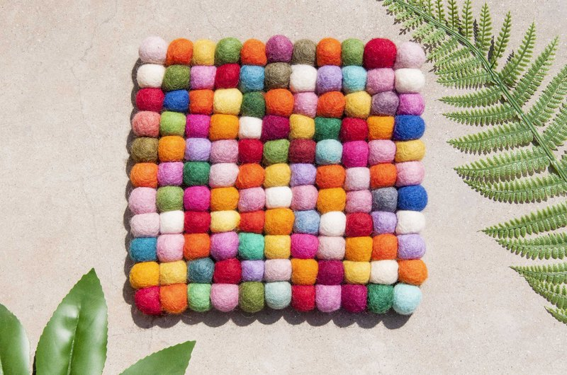 Wool felt rainbow insulation mat pot wool felt pot mat - macarons colorful cake square pot