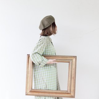 Green white light yellow staggered French long version pullover plaid shirt