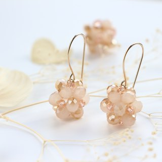 14kgf-milky peach spherel pierced earrings(can change to clip-on)