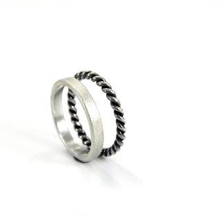 3mm matte texture ring - silver + thick line ring - two piece silver ring