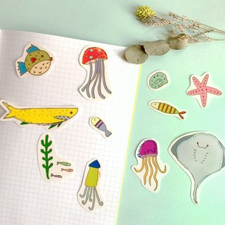 Tranquil blue - hand-painted transparent waterproof underwater world sticker set