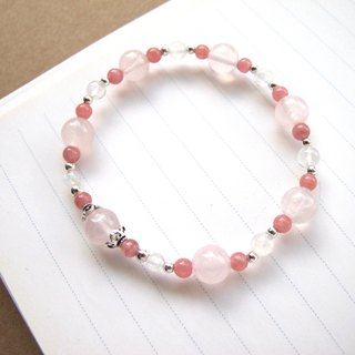 [Sakura Red] Pink Crystal x Moonstone x Red Stone x 925 Silver - Custom Crystal Bracelet