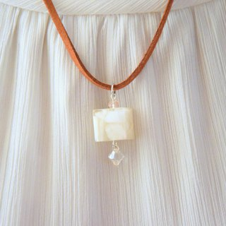 White Angel Light Cube with Swarovski Pendant Handmade Necklace