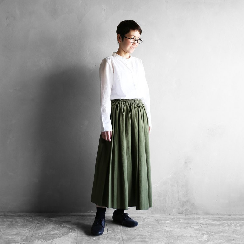 Copy soft cotton long skirt [khaki]