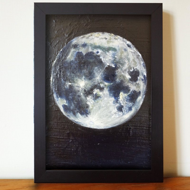 Lunar oil painting F 1 with frame size about 26 * 19cm
