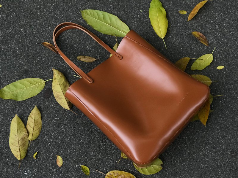 Zemoneni leather big tote bag in brown color