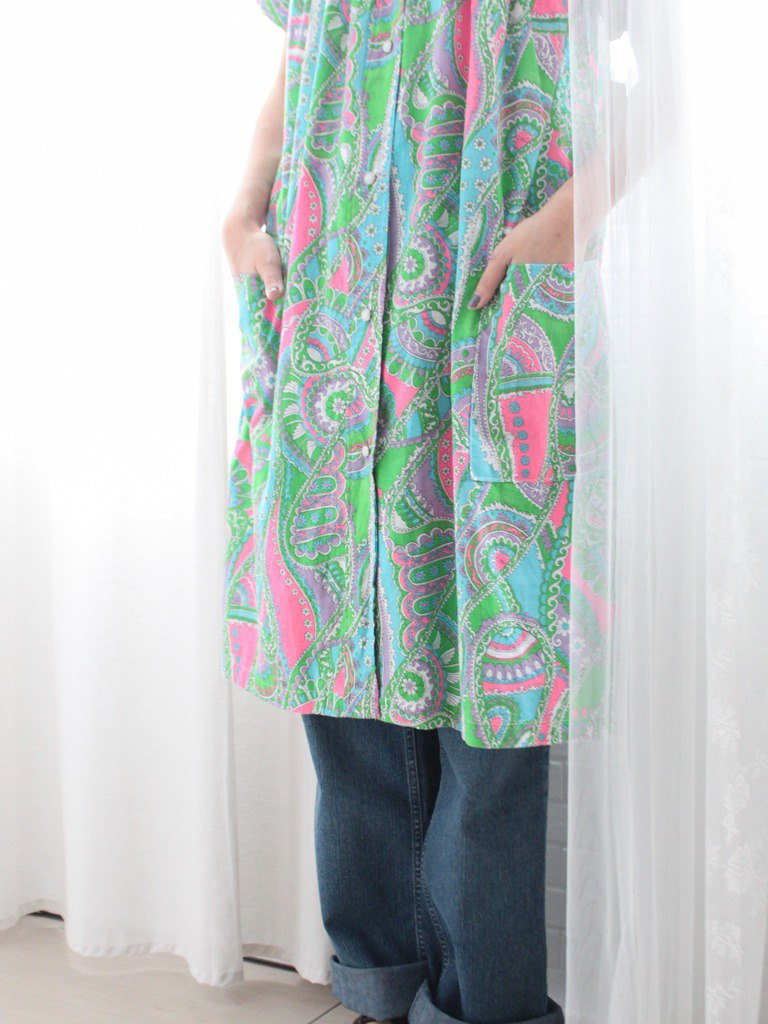 Retro early spring USA USA cotton 90s geometric pink green contrast color totem short sleeve loose vintage dress