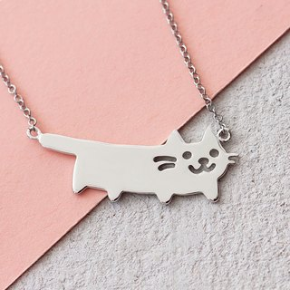 Cat Necklace in 925 Sterling Silver with White Gold plating