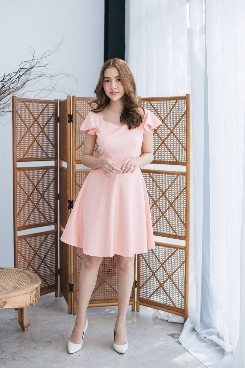 Pink Dress Vintage Style Dress Pink Summer Dress Ruffle Sleeve Dress Cute
