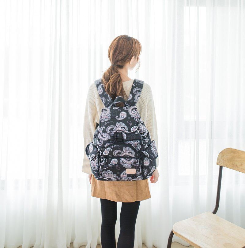 [Multi-inner compartment compartment smart storage] beam mouth backpack - Paisley