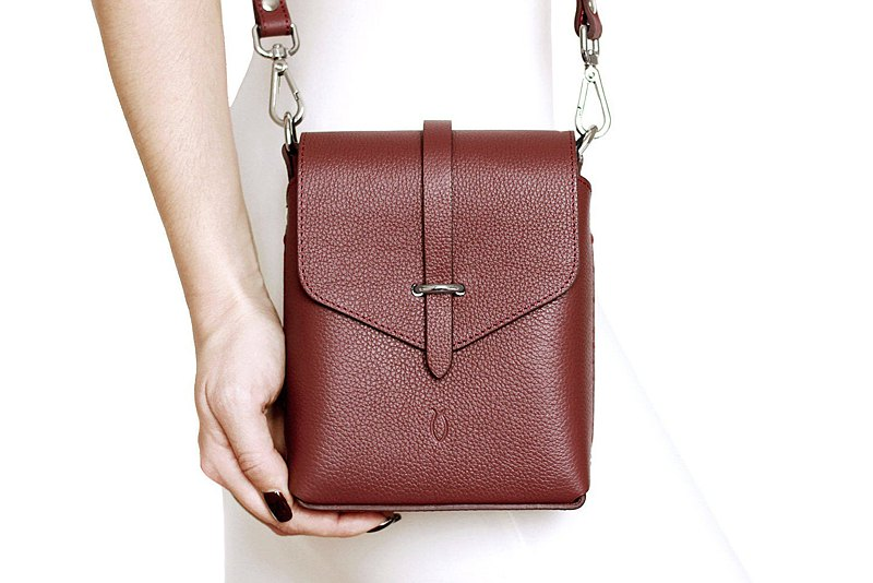 Dark red bag, red crossbody, red women's bag, women's leather bag, maroon bag