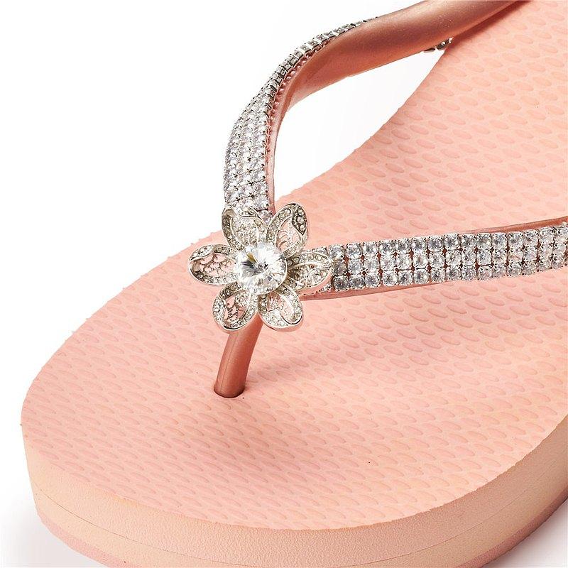 女款3cm厚底夾腳拖鞋-頂級首飾工藝水鑽-Flower白鑽白鍊 粉金