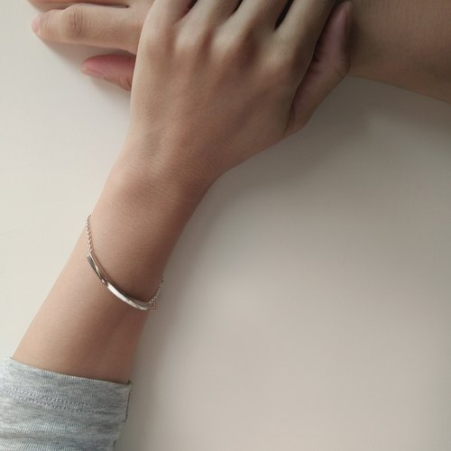 Mittag BL803 square tube bracelet_ square tube bracelet 925 sterling silver limited designer hand with brand wood jewelry box, wipe silver cloth over free transport