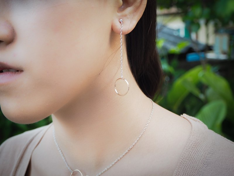 Two-tones Rose gold/white Sterling silver circle dangle earring