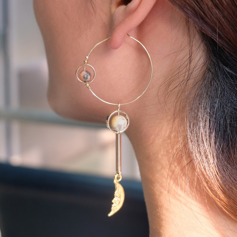 ALYSSA & JAMES-The Moon Collection-Brown agate earrings