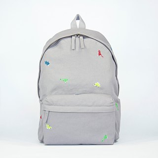 Dinosaur Embroidery Canvas Backpack ( 13.5 / 15.5 Notebook ) / Grey