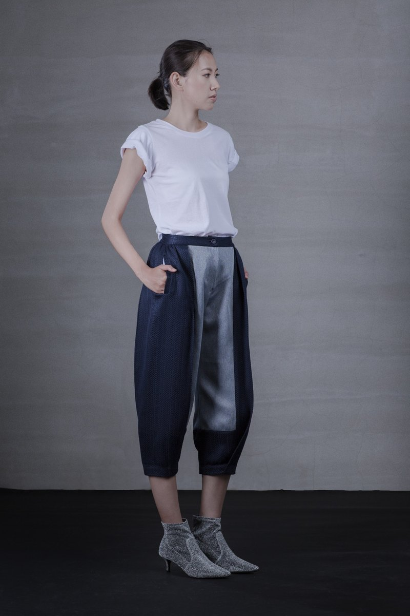Navy blue patchwork wool blend pants