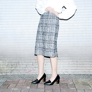 {::: Giraffe giraffe people :::} _ wove special-color plaid skirt vintage bud skirt