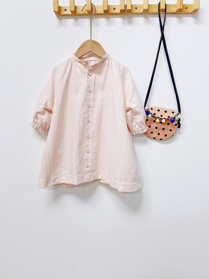 DIY材料包 溫暖系女孩 粉色條紋立領落肩泡泡袖襯衫洋裝 中級洋裁