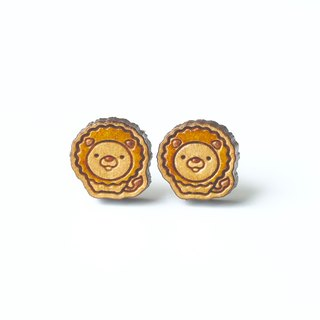 Painted wood earrings-Lion