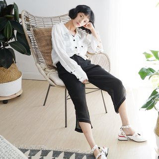 Original design linen side slit irregular hem cropped trousers in black