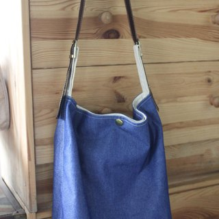 Denim vegan leather simple wenqing diagonal shoulder bag