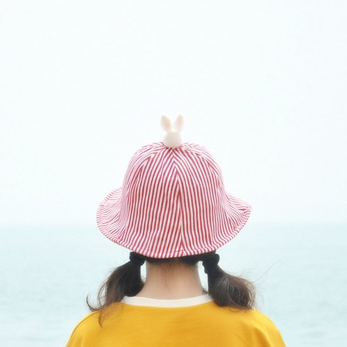 Fresh and lovely striped wool felt hat cotton sun hat small rabbit hand-made gifts